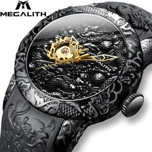 MEGALITH-relojes mecánicos con escultura de DRAGÓN dorado para hombre, reloj deportivo resistente al agua con esfera grande, masculino