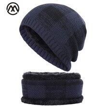 Модная Клетчатая Мужская шапка, шарф, комплект из 2 предметов, Зимняя Теплая мужская и женская хлопковая шапка, нагрудник, набор плюс бархатная теплая шапка, мужская шапка в горошек