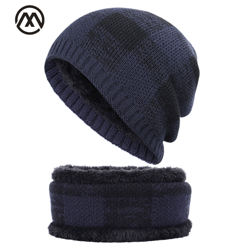 Fashion Plaid Men's Hat Scarf 2 Piece Set Winter Warm Men's And Women's Cotton Cap Bib Set Plus Velvet Warm Hat Men's Peas