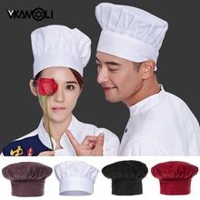 Vkamoli черная белая шапка шеф-повара кулинарная Регулируемая шапка мужская и женская кухня эластичная шапка питание колпак, рабочая шапка
