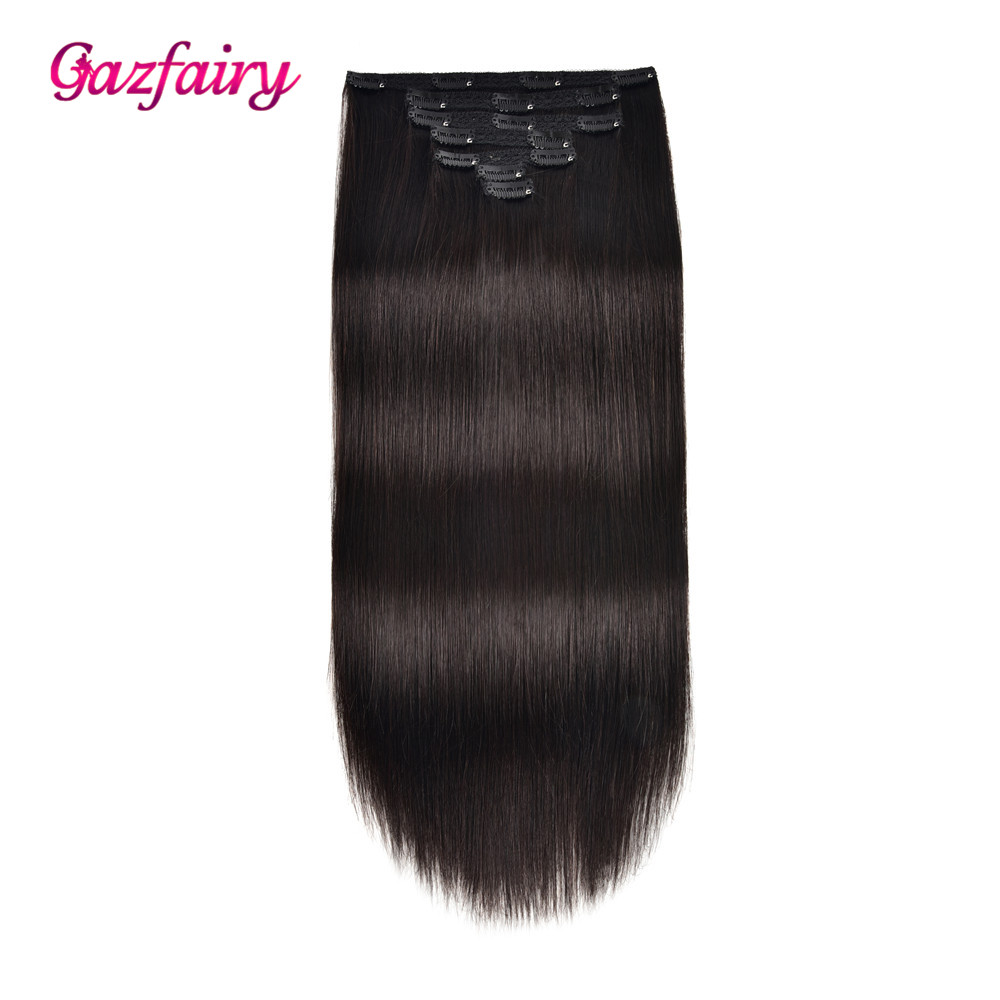 Gazfairy Straight Remy Hair 14''-18'' 7pcs/set 70g Clip In Human Hair Extensions Full Head Double Drawn Natural Color Hairpieces