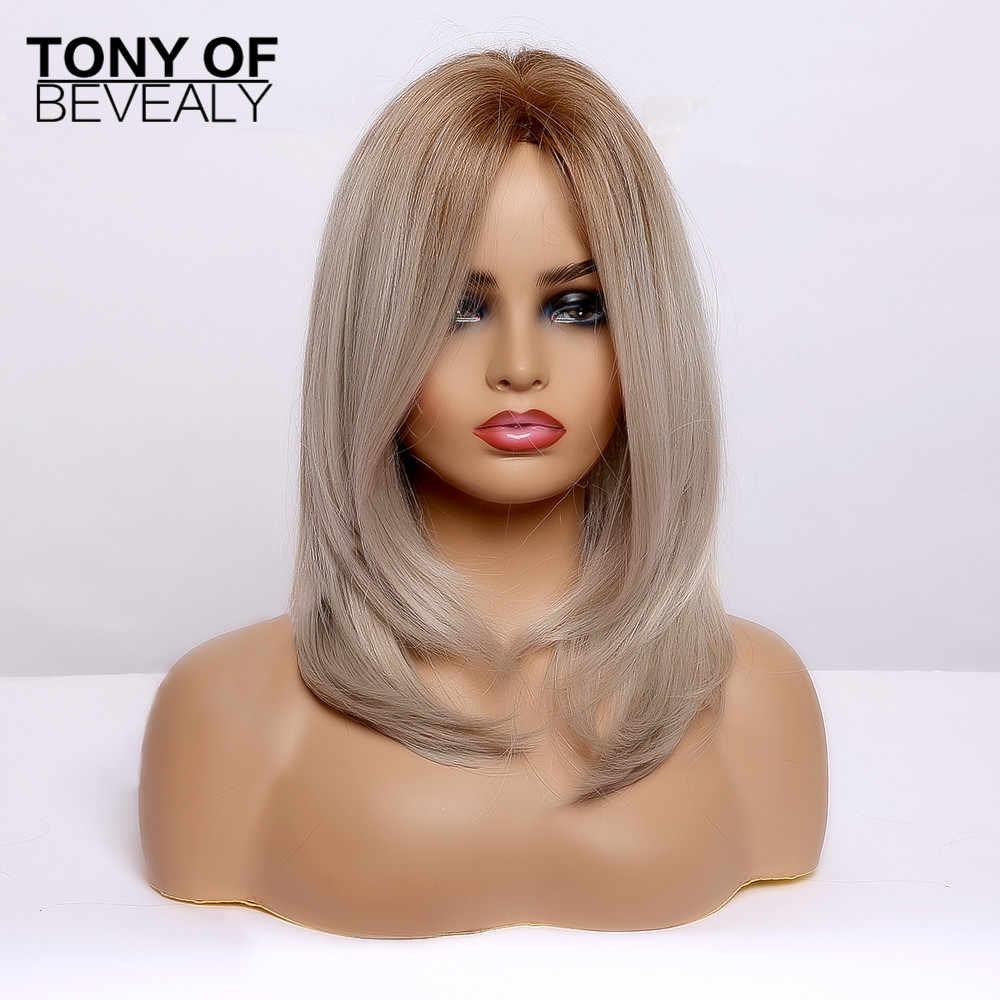 Brown untuk Light Blonde Rambut Lurus Medium Berlapis Bob Sintetis Wig Bagian Tengah untuk Wanita Tahan Panas Cosplay Wig