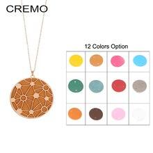 Cremo Long Necklace Round Star Pendant Interchangeable Leather Charm Women Necklaces & Pendants