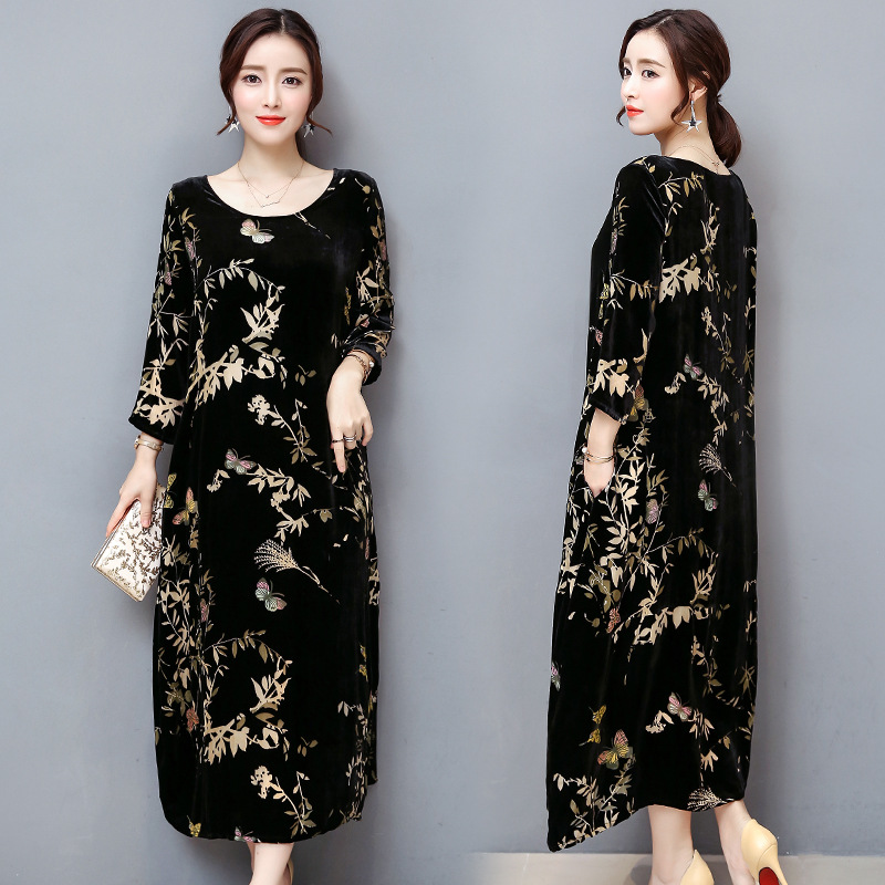 Autumn Clothing New Style Literature And Art Elegant WOMEN'S Dress Loose Comfortable Black And White With Pattern Gold Velvet Pr