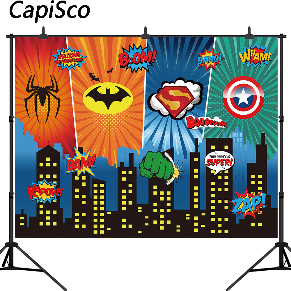 Capisco Superhero Backdrops Birthday Party Baby Comics Personalized Poster background photography Photocall Photo Studio