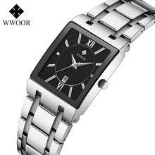Часы наручные wwoor мужские с квадратным циферблатом брендовые
