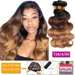 Пучок волнистых волос T1b/4/30 с эффектом омбре, светлые человеческие волосы, 3 пряди, предложения, неповрежденные волосы для наращивания, перуа...