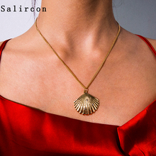 цены Salircon Geometric Scallop Chain Necklace Charming Rhinestone Transport New Pendant Necklace Gold Silver Alloy Women Jewelry