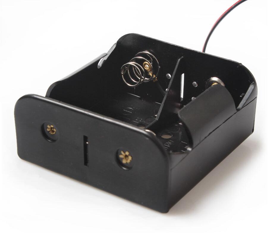 MasterFire 10pcs/lot Black Plastic 2 Slots 3V Wire Leaded Battery Storage Case Box X D Size Batteries Holder Cover