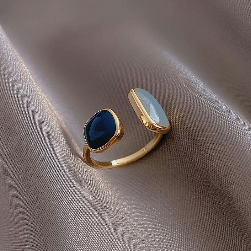 2021 French New Retro Square Blue Oil Dripping Ring Fashion Temperament Simple Opening Ring Women's Jewelry