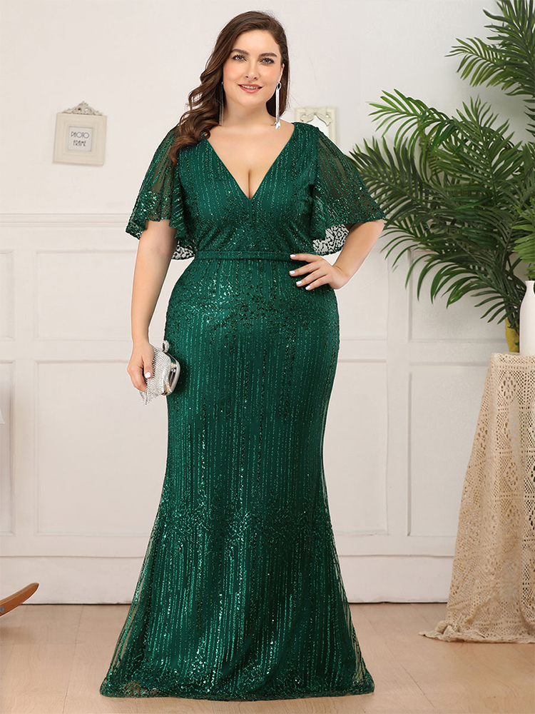 Evening-Dresses Sequined Ever Pretty Abendkleider Ruffles-Sleeve Mermaid Deep-V-Neck