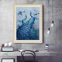 Полноразмерная Алмазная картина 5d с синим павлином «сделай