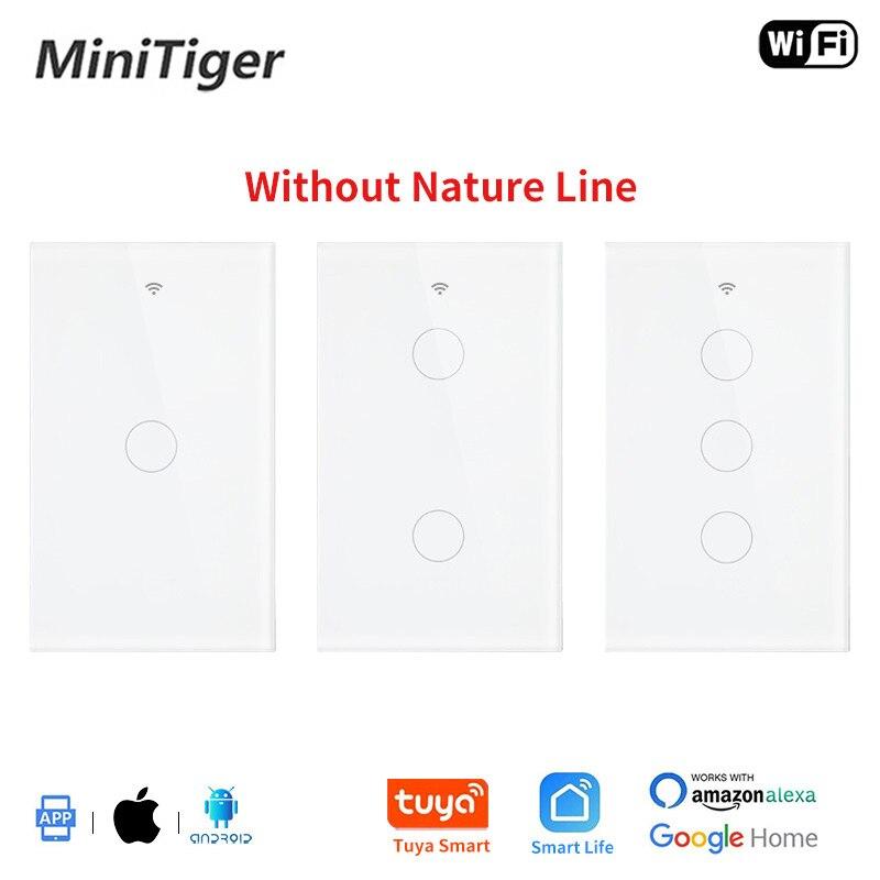 Minitiger US Standard 1/2/3 Gang Tuya APP Wifi Smart Wall Touch Light Switch Crystal Glass Single Fire Line Touch Switch