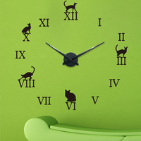Cats Clocks for Girls Stickers Roman Numerals Cat Wall Clock Acrylic Wall Sticker Creative Diy Living Room Bedroom Wall Clock