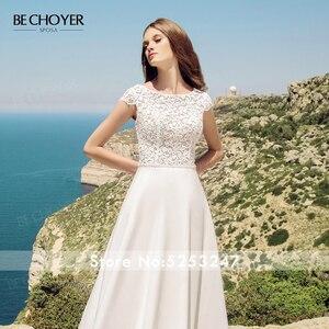 Image 4 - Женское свадебное платье трапеция BECHOYER, элегантное кружевное платье трапеция с круглым вырезом и рукавами крылышками, с прозрачным поясом, модель 2020, AB41