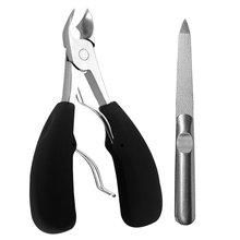 Nail Clipper Ingrown Toenail Scissor Nail File Manicure Tool Ergonomic Black Pedicure Portable Stainless Steel(China)