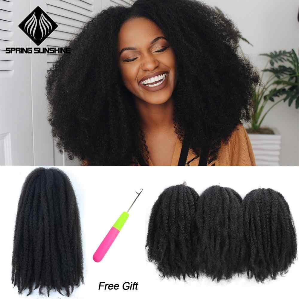14 de 18 pulgadas trenzas Marley sintético rizado Afro coqueto Crochet trenza Yaki trenzado Ombre extensiones de cabello a granel negro marrón Borgoña