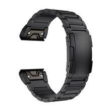 Fenix 6x band, pulseira de metal de titânio 26mm, bracelete para relógio garmin fenix 5x plus fenix 6x pro