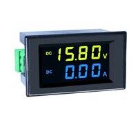 1 pces dc 0-600 v/200a tensão amperímetro two-color display led painel digital voltímetro amperímetro fonte de alimentação azul amarelo