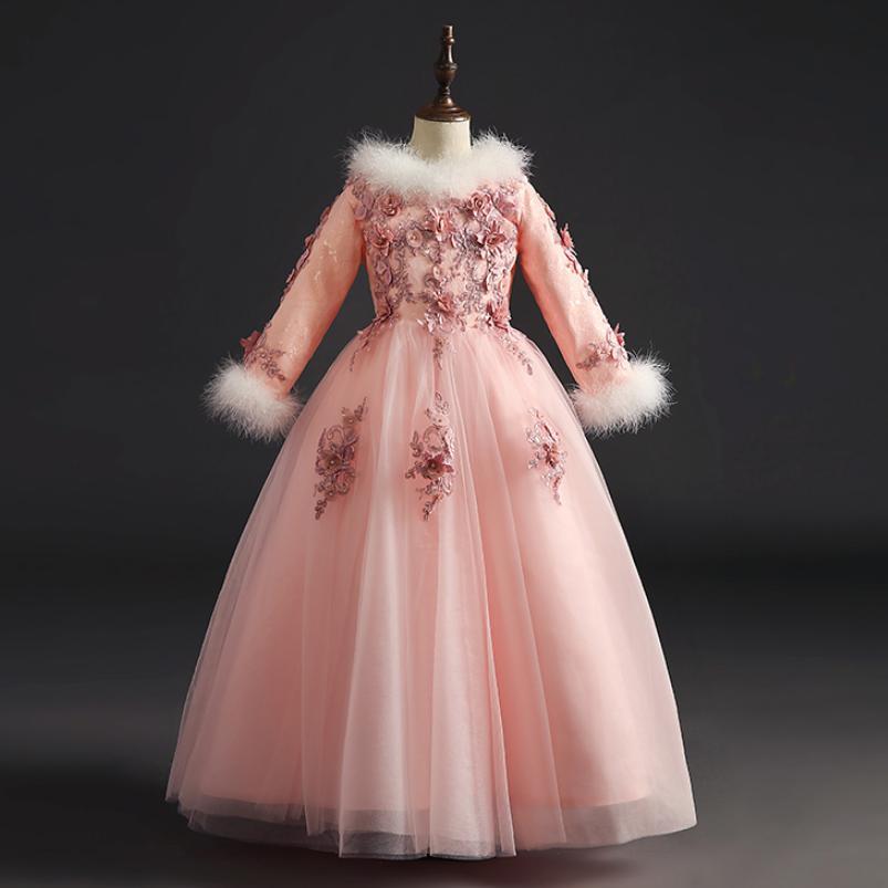 Nouveau luxe fleur filles robes pour les mariages 2019 hiver plus épais chaud princesse robes de reconstitution historique Modis enfants robe Vestidos Y2000