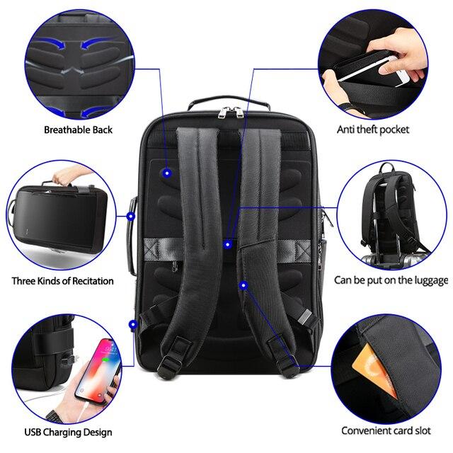 BOPAI Brand Enlarge Backpack USB External Charge 15.6 Inch Laptop Backpack Shoulders Men Anti-Theft Waterproof Travel Backpack 6