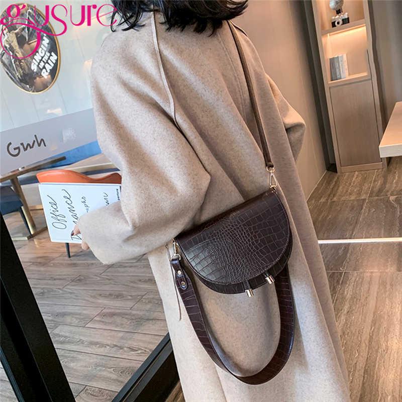 Gusure Mewah Buaya Pola Tas Selempang untuk Wanita Setengah Messenger Tas PU Kulit Tas Tangan Tas Bahu
