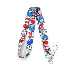 Dr Seuss Hat cat cartoon diy keychain lanyard webbing ribbon neck strap fabric badge phone holder necklace accessory