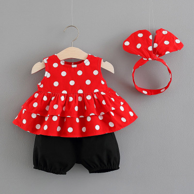 2019 New Baby Girls Clothing Sets 2019 Summer New Sleeveless Dot Shirt pp Shorts Two piece Suit Children 39 s Fashion Clothes Set in Clothing Sets from Mother amp Kids