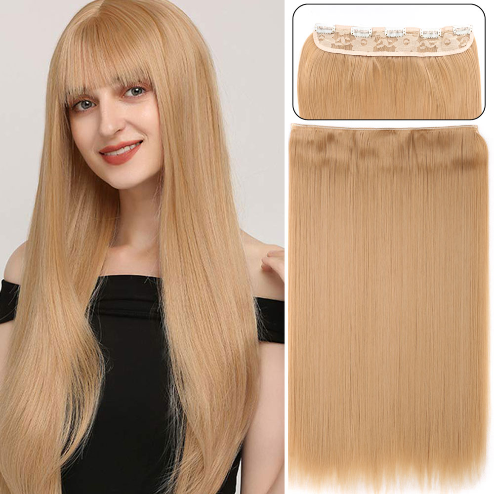 Накладные прямые волнистые волосы для женщин, термостойкие синтетические накладные волосы, 24 дюйма, 5 зажимов
