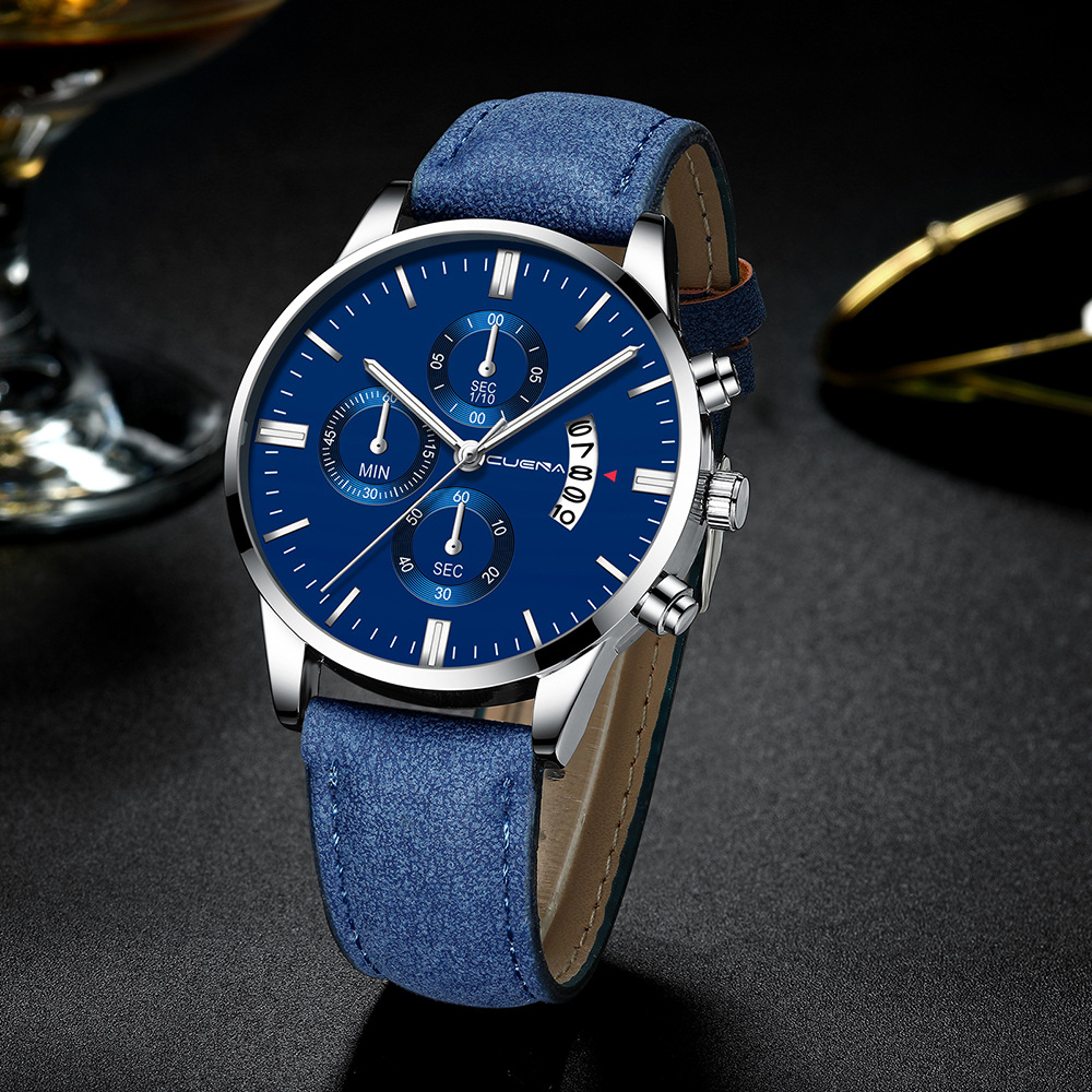 Men's Watch Fashion Sport Stainless Steel Case Leather Band Quartz Analog Wrist Watch Men Masculino Relogio Watch Clock