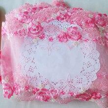 16.5cm de largura dupla face rosa flor bordado malha laço fita para sutiã cortina mesa roupas tecido renda diy costura ylhb112