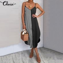 Women Vintage Striped Patchwork Maxi Dress Celmia 2021 Summer Plus Size Sundress Casual Beach Party Sexy Spaghetti Strap Vestido