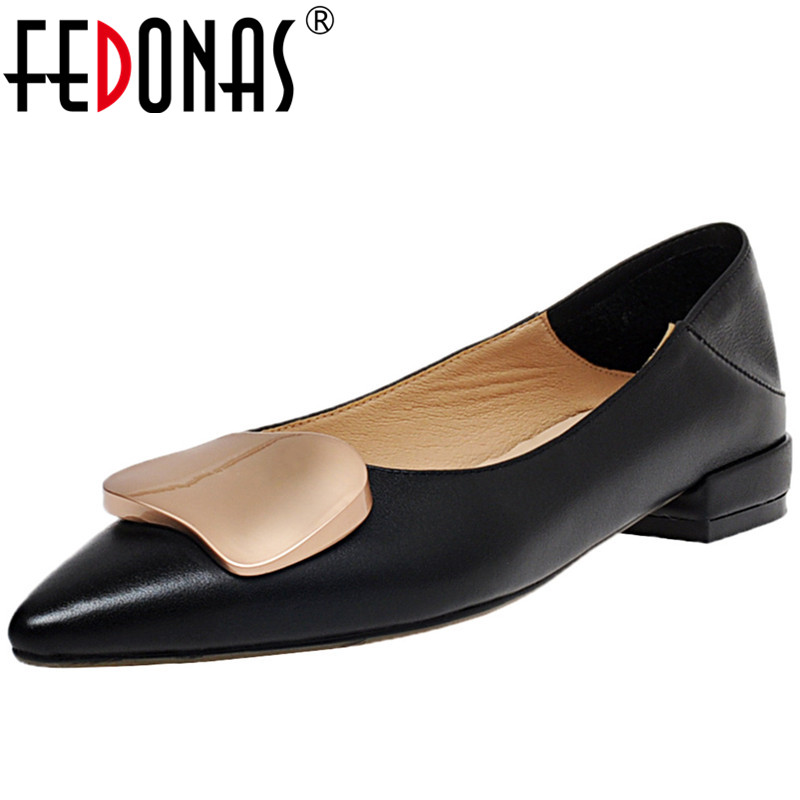 FEDONAS  Women Genuine Leather Metal Decoration Shoes Pointed Toe Thick Heels Pumps Summer Working Shallow Sweet Shoes Woman