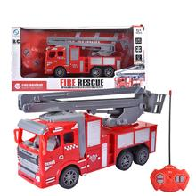Remote Control Fire Truck 4-channel Remote Control Manual Ladder Fire Engine Toy Cars Vehicles With Lights For Boys Girls Kids