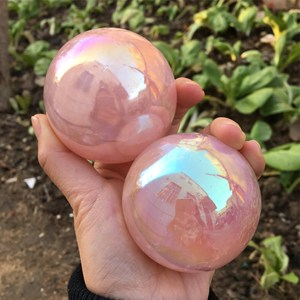 Image 5 - angel aura rose quartz crystals ball natural stones and minerals gemstone sphere home decoration feng shui crafts