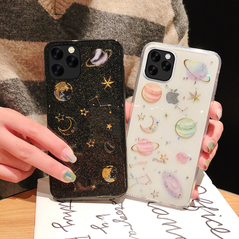 Universe Planet Case For Apple iPhone 11 Pro Max XS X XR Glitter Moon Stars Clear Silicon Cover For iPhone 6 6s 7 8 Plus Cases