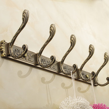 European Retro 4 6 hook wall  Metal Bronze Antique storage rack  hat clothes s for hanging coat hanger home organizer