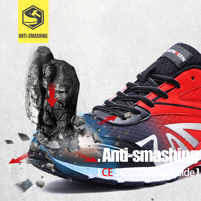 LARNMERN chaussures de travail de sécurité en acier pour hommes, légères et respirantes, chaussures de protection antidérapantes pour la Construction - 2
