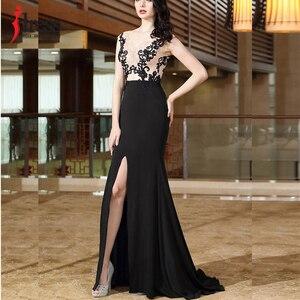 Image 5 - IDress yüksek kalite kadınlar zarif dantel nakış uzun elbise seksi Backless bölünmüş Mermaid akşam Maxi elbise balo parti kıyafeti