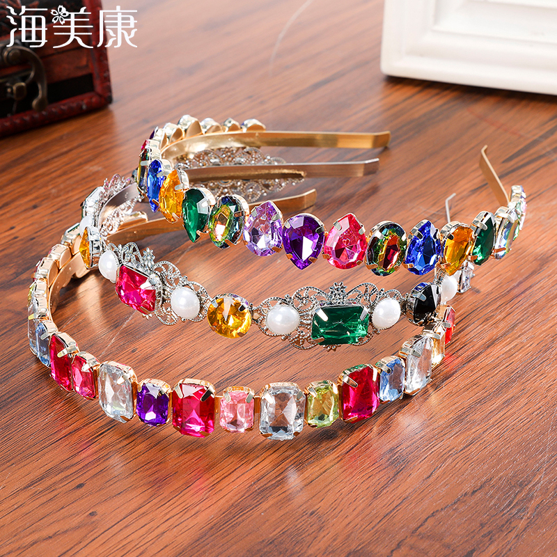 Haimeikang Rhinestone Bezel Baroque Headband Luxury Silver Crystal Hairband Sparkly For Fashion Women Hair Accessories