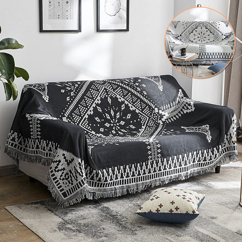 Geometry Sofa Throw Blanket Simple Carpet Tapestry Black White Side Sofa Towel Mat Knitted Throw Blankets Bedspread Home Textile
