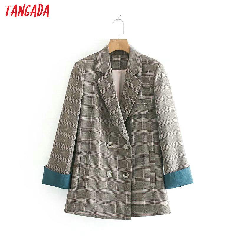 Tangada Vintage Plaid Blazer Women Houndstooth Print Pockets Turn Down Collar Blazer Long Sleeve Pocket Coat Retro Tops 5Z43