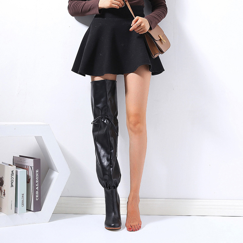 Women Fashion High-heeled Over-the-knee Boots Winter Catwalk Personality Tide Boots Large Size 43 Red Boots Zapatos De Mujer PU