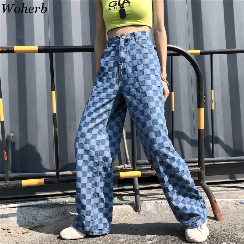 Woherb Jeans Woman Plaid Pants Hip Hop New Female Wide Leg Pants Fashion Harajuku BF Vintage High Waist Denim Pants 22706