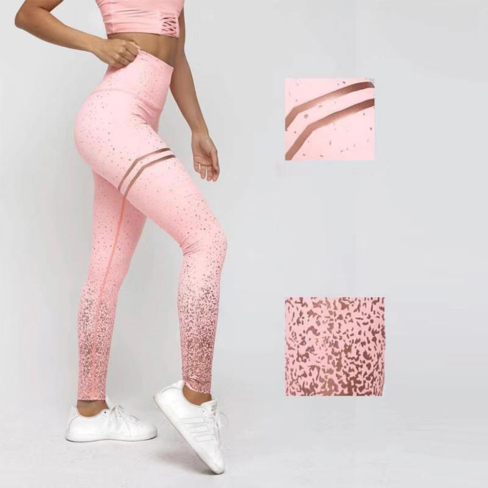 Women Leggings No Transparent Metallic Foil Print Leggings Exercise Fitness Patchwork Push Up Female Pants