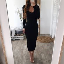 Women V Neck Long Sleeve Knitted Dress Fashion Sweater Vestidos Rk #E