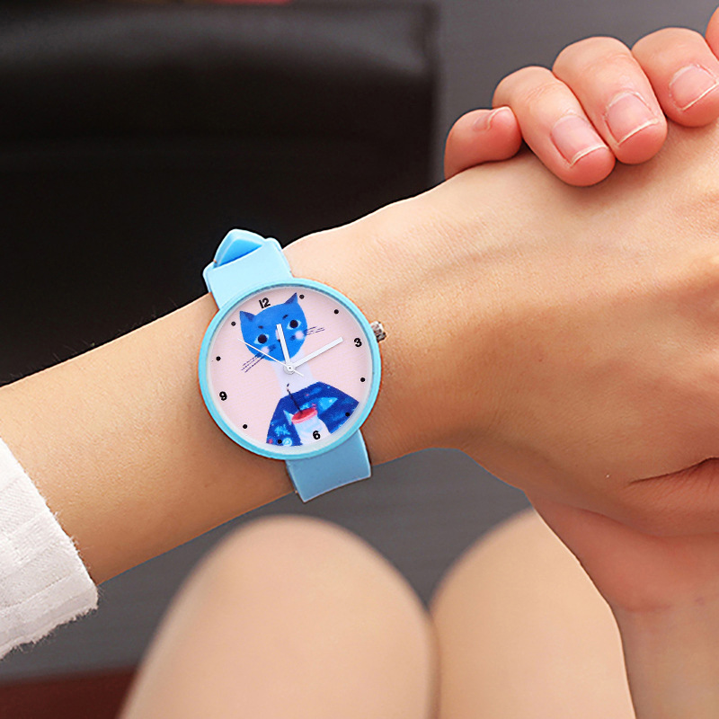 Soft Cute Cat Candy Color Girl Children Watch Women Personality Clock Girlfriend Gift Student Kids Watches Baby Christmas Gifts