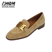 ISNOM Women Genuine Leather Flats Loafers Round Toe Sheep Suede Chain Loafers Slip on Footwear Ladies Cozy Casual Shoes 2021 New