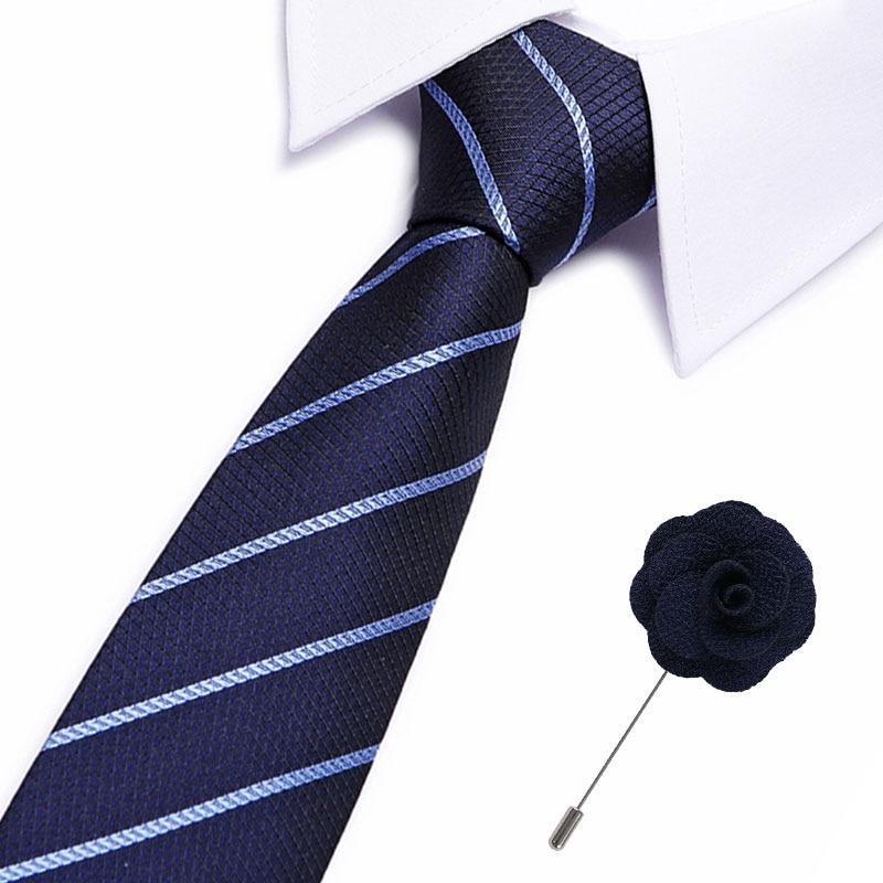 European Men's Silk Necktie Ties Skinny Dot Narrow 7.5cm  Tie Casual Plaid Bow Tie&brooch Set England Cravat