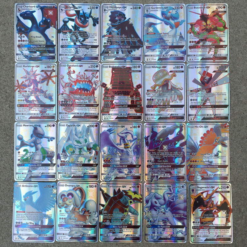 new-font-b-pokemon-b-font-cards-charizard-blastoise-venusaur-mewtwo-tag-team-flash-card-colors-game-collection-cards-children's-gifts